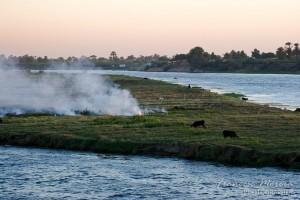 Atardecer sobre el Nilo. Egipto