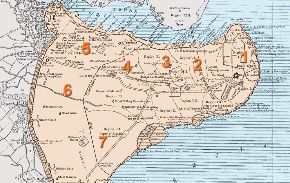 Mapa de las siete colinas de Estambul